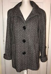 comprare on line c1b0d 22b72 Details about Giacca Tweed Small Ladies Jacket Black White Wool A Line  Stand Up Collar Lined