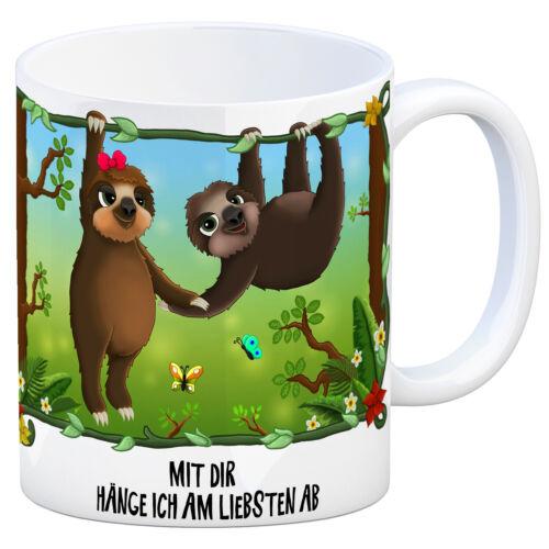 Kaffeebecher Faultier Pärchen Dschungel Mit dir hänge ich am liebsten ab