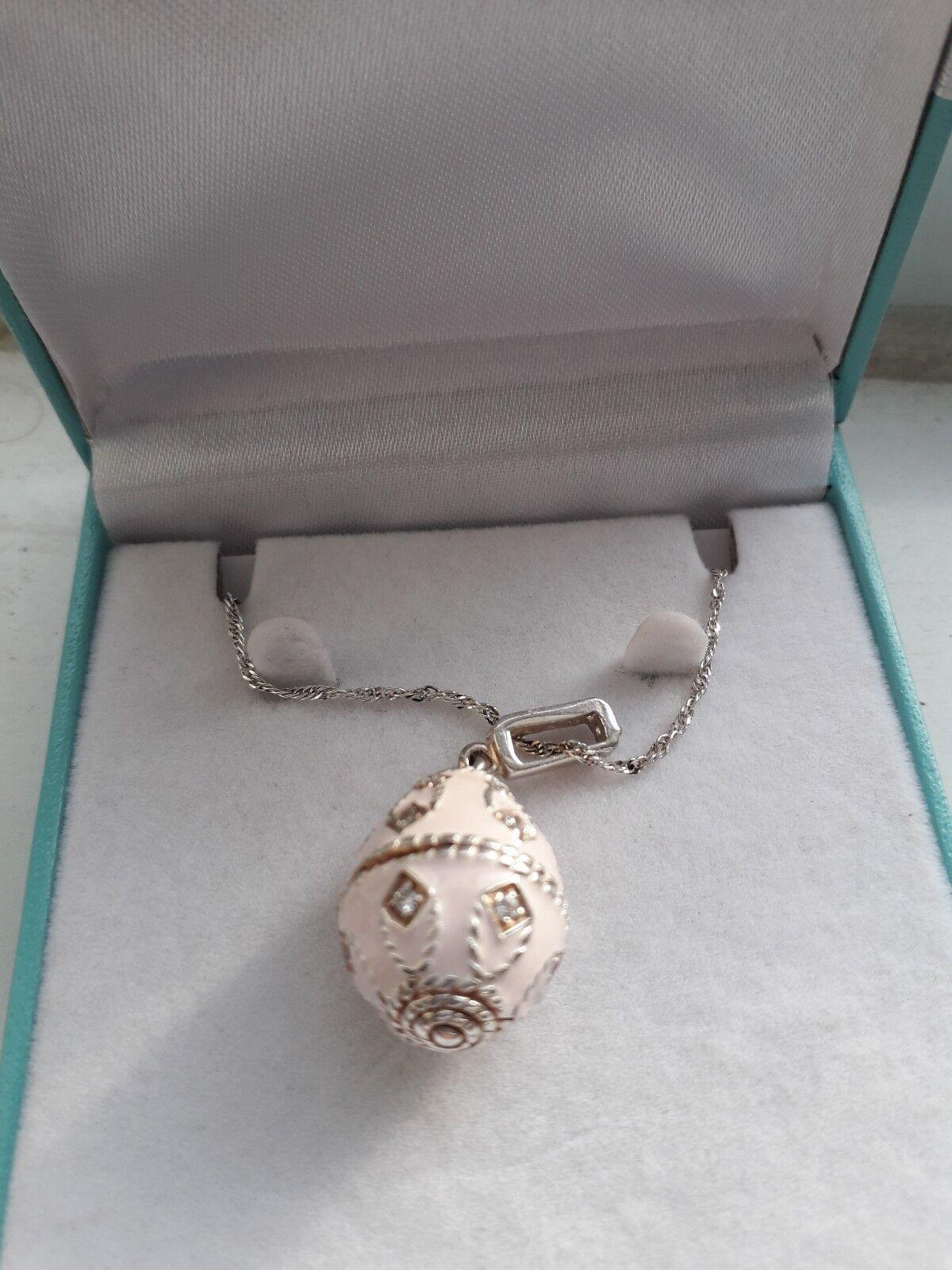58F Donna argentoo Sterling rosa e Zirconi Cubici in Ceramica Ceramica Ceramica UOVO Collana 20 pollici 150239