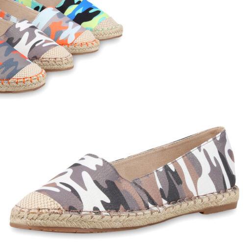 Damen Espadrilles Camouflage Prints Slipper Bast Schuhe 75268 Trendy Neu