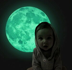 Luna-luminoso-034-Brillo-Dormitorio-infantil-Ninos-Decoracion-30-cm-Diametro-Luna