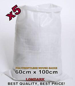 Image Is Loading 5 Woven Polypropylene Bags Sacks 60 X 100