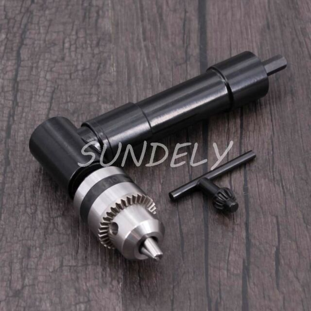 Right Angle Drill Attachment Adapter 90 Degree 8mm Hex Shank Keyless Chuck Tool