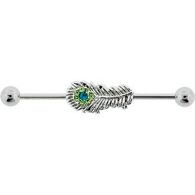 Peacock Feather Industrial Barbell.