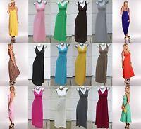 Rayon Jersey Casual Beach Walk Plain Simple Sexy V-Neck Long Maxi Dress S/M/L/XL