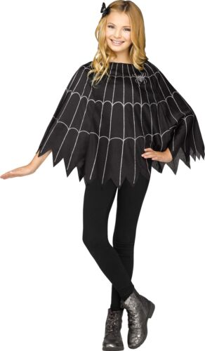Spider Web Poncho Black//Silver Solid Pack Child Halloween Costume  Fancy Dress