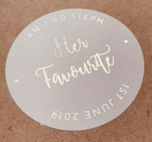 SILVER Foil Her Favourite 45MM WHITE ROUND PERSONALISED WEDDING LABELS STICKERS
