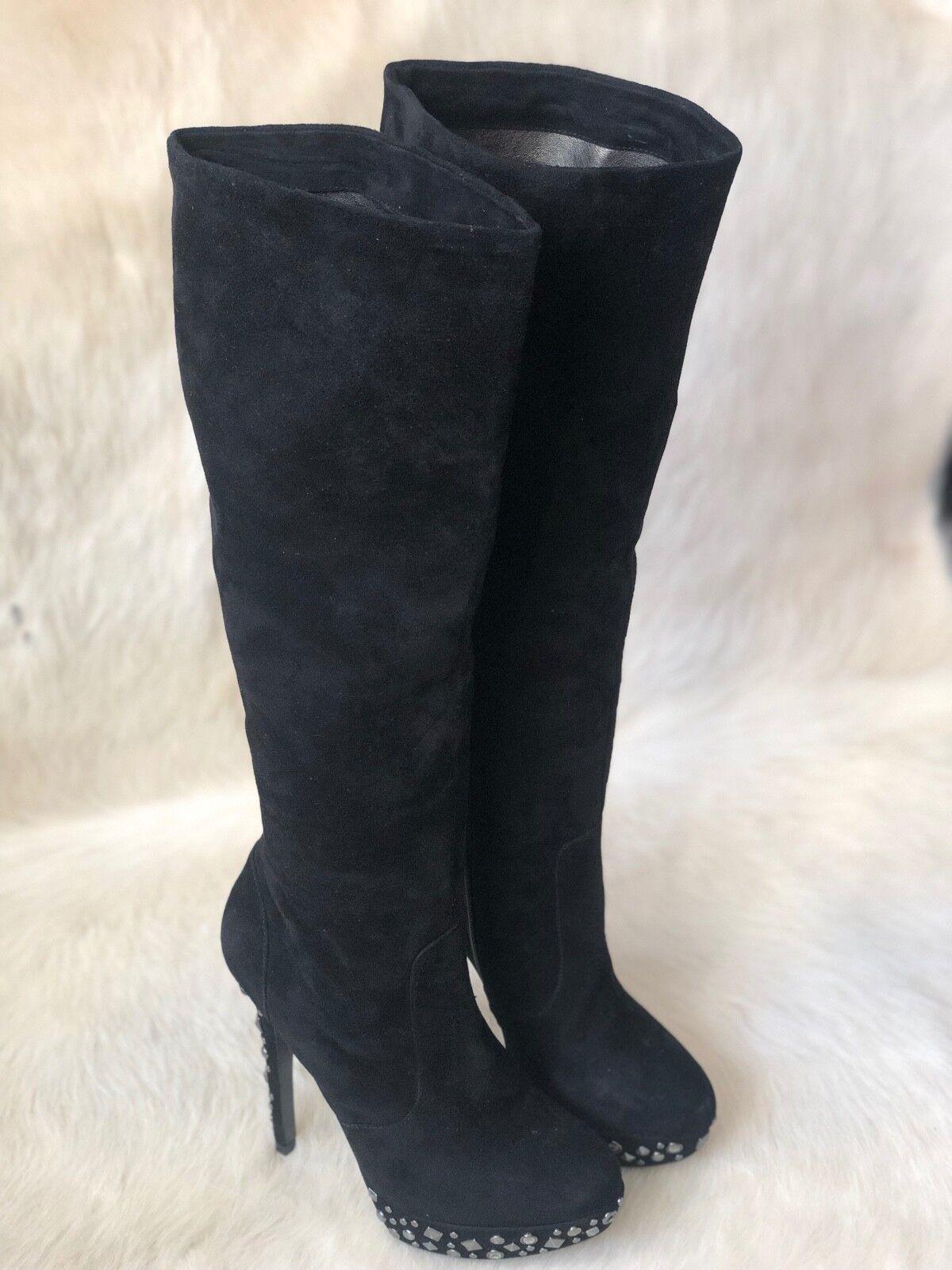 risparmia il 60% di sconto e la spedizione veloce in tutto il mondo Pelle Moda Piper nero Suede Knee High High High Heel stivali U.S. Sz 7  Sito ufficiale