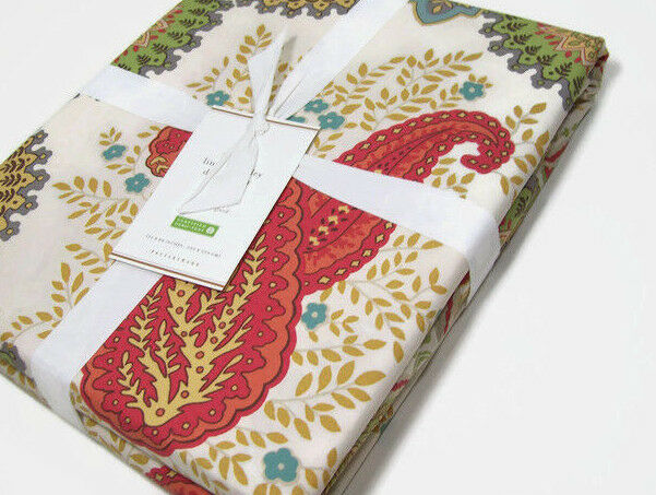 Pottery Barn Multi Warm Colors Linden Paisley Full Queen Duvet Cover New