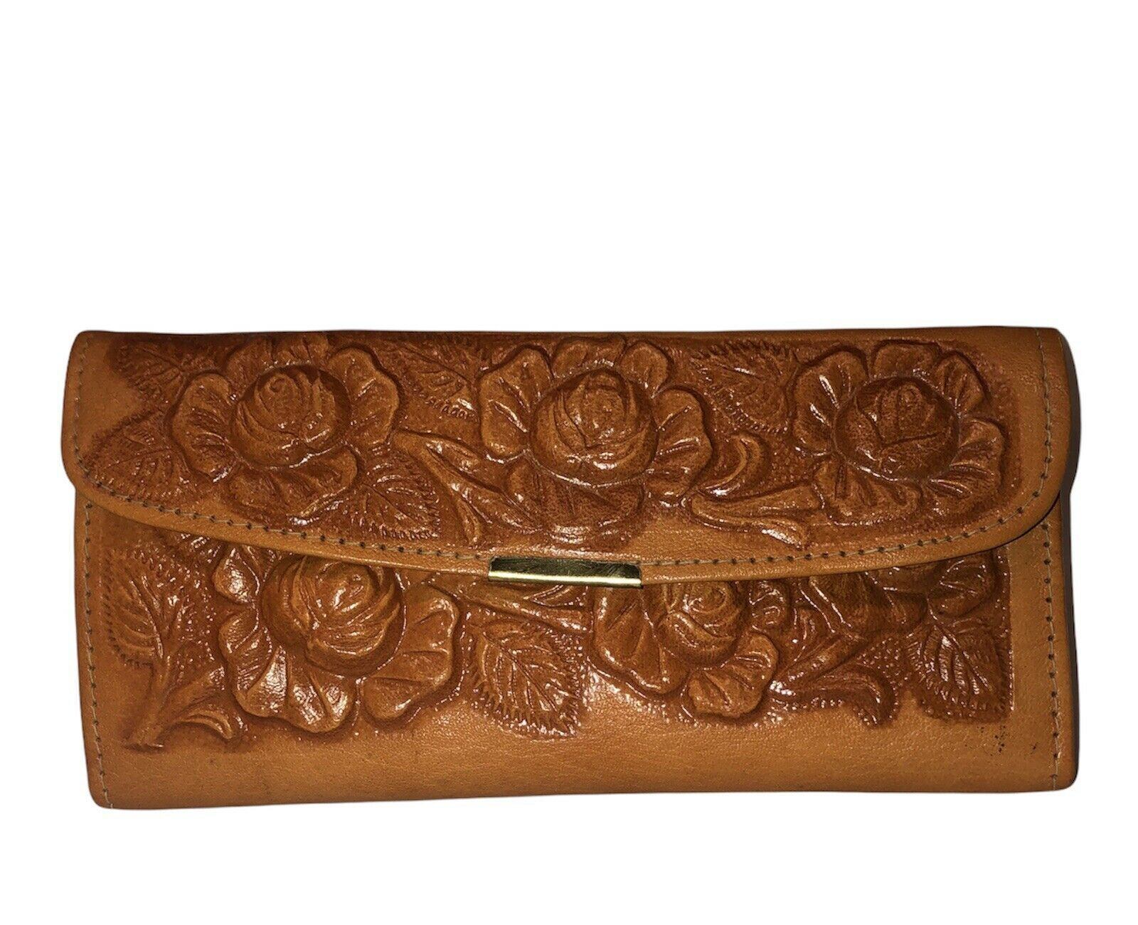 Hand tooled Floral 100% Leather Trifold Wallet Clutch Mexican