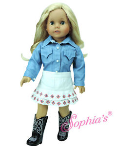 Doll-Clothes-18-034-Western-Skirt-White-Denim-Top-Boots-Fit-American-Girl-Dolls
