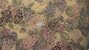 """Vintage Cotton Fabric SHADE OF PURPLE LILACS Cranston Home 1 Yd/44"""" Wide"""