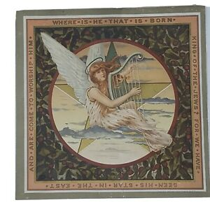 Large-Victorian-Scrap-1884-Card-from-Antique-Scrapbook-7-x-7-Harp-Star-Angel