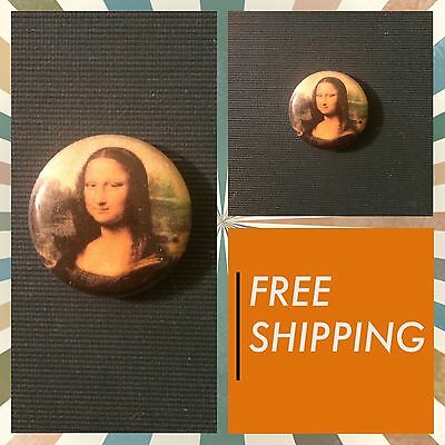 "Mona Lisa Da Vinci Painting Print 1"" Button Pin, Free Shipping Art Punk Ska"