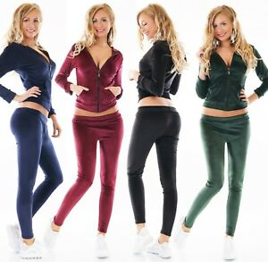 Nicki-Chandal-Traje-de-Casa-Terciopelo-Fitness-Chaqueta-con-Capucha-Pantalon