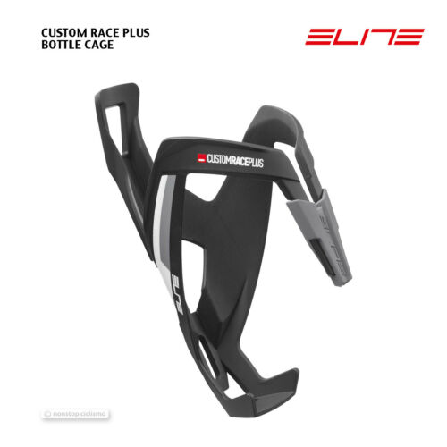 NEW 2020 Elite CUSTOM RACE PLUS Bicycle Water Bottle Cage MATTE BLACK//WHITE