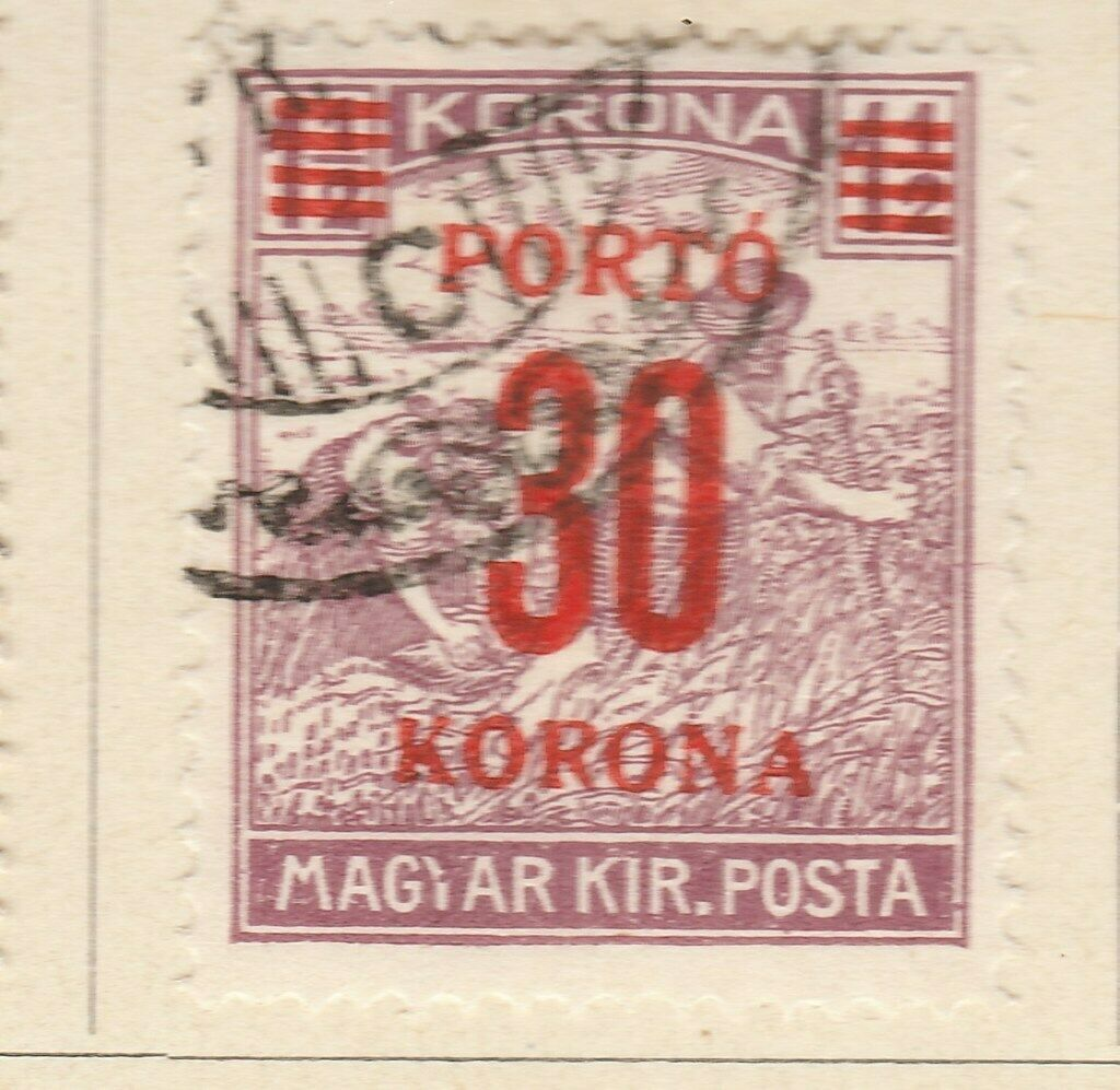 A6P8F71 Hungría Hungary Postage Due Stamp 1921-25 surch 30k on 1 1/2k used