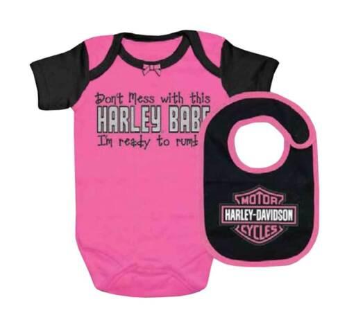 Pink 3000549 Harley-Davidson Baby Girls/' Interlock B/&S Creeper /& Bib Set