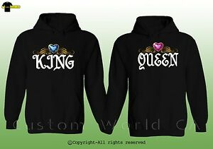 0a4a145653 King & Queen Design Couple Matching Hoodie BF GF His and Hers Match ...