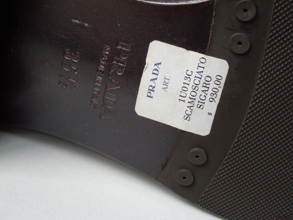 Nouveau Nouveau Nouveau  930 PRADA en daim marron Boucle Dorée Motard Équitation Bottes 35.5 US 5.5 4b5506