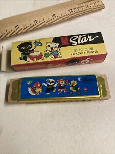 VINTAGE Star Harmonica Kids Musical Instrument Toy Music in Box Circus Animals
