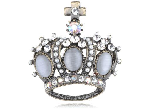 Blanco Rhinestone CZ gemas del grano Royal King Corona Disfraz De Moda Regalo Pin Broche