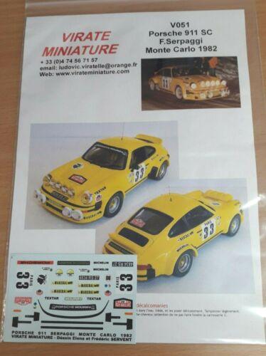 DECALS 1//43 REF V051 Porsche 911 SC Serpaggi Monte Carlo 1982