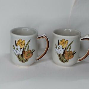 VINTAGE CALIFORNIA POTTERY USA cup mug set 2  crocus floral