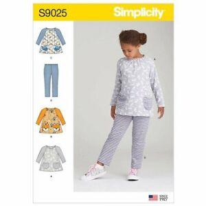 SIMPLICITY-Sewing-Pattern-9025-Child-039-s-Girls-Top-Leggings-Sz-3-4-5-6-7-8