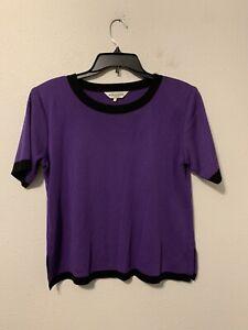 Exclusively Misook Petite Sz LP Short Sleeve Knit Top Purple W/ Black Trim