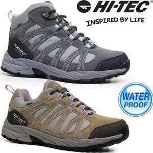 Damas-Mujeres-Cuero-Caminar-Senderismo-Impermeable-Hi-Tec-Botas-al-Tobillo-Entrenadores-Zapato