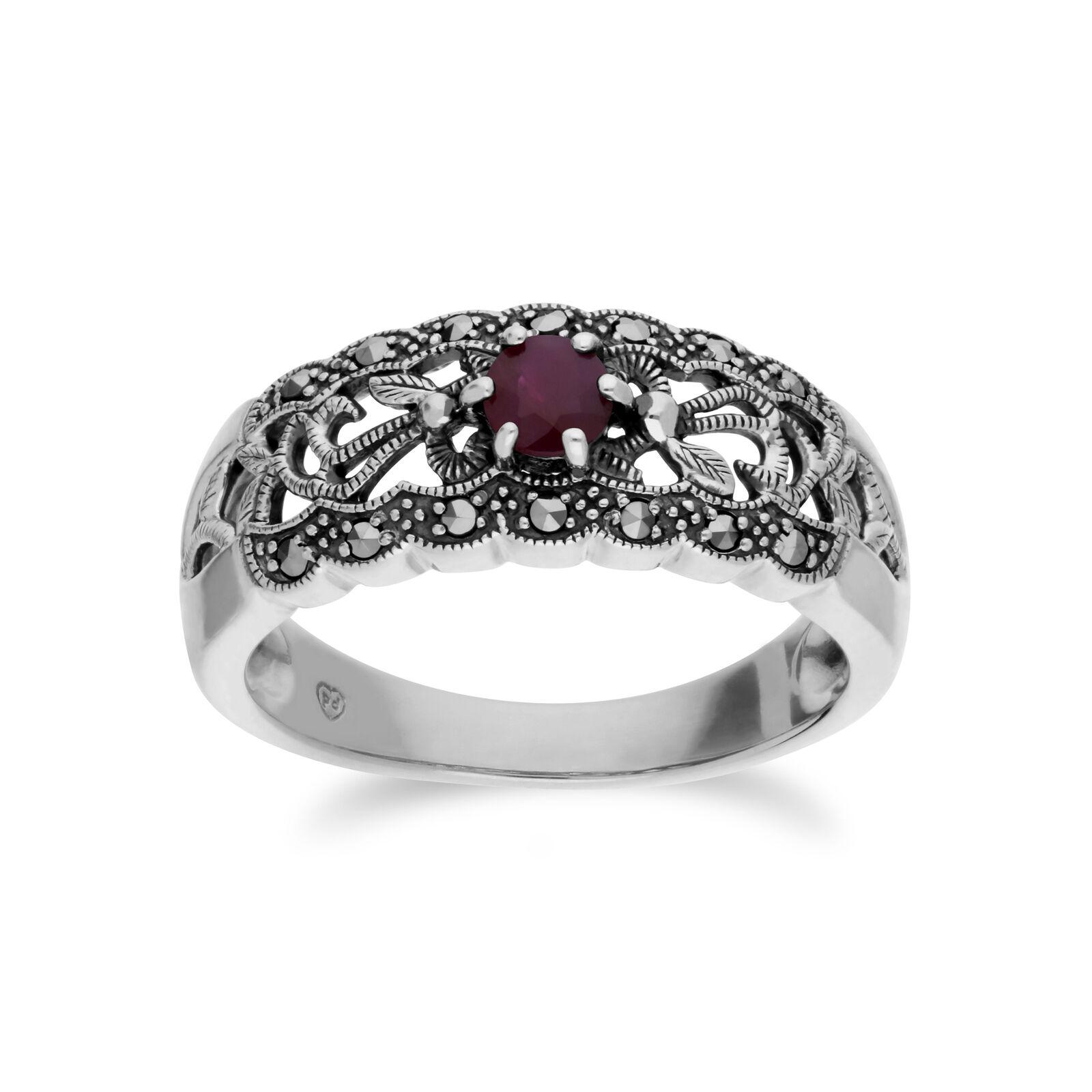 Gemondo Sterlingsilver Rubin & Markasit Jugendstil Ring