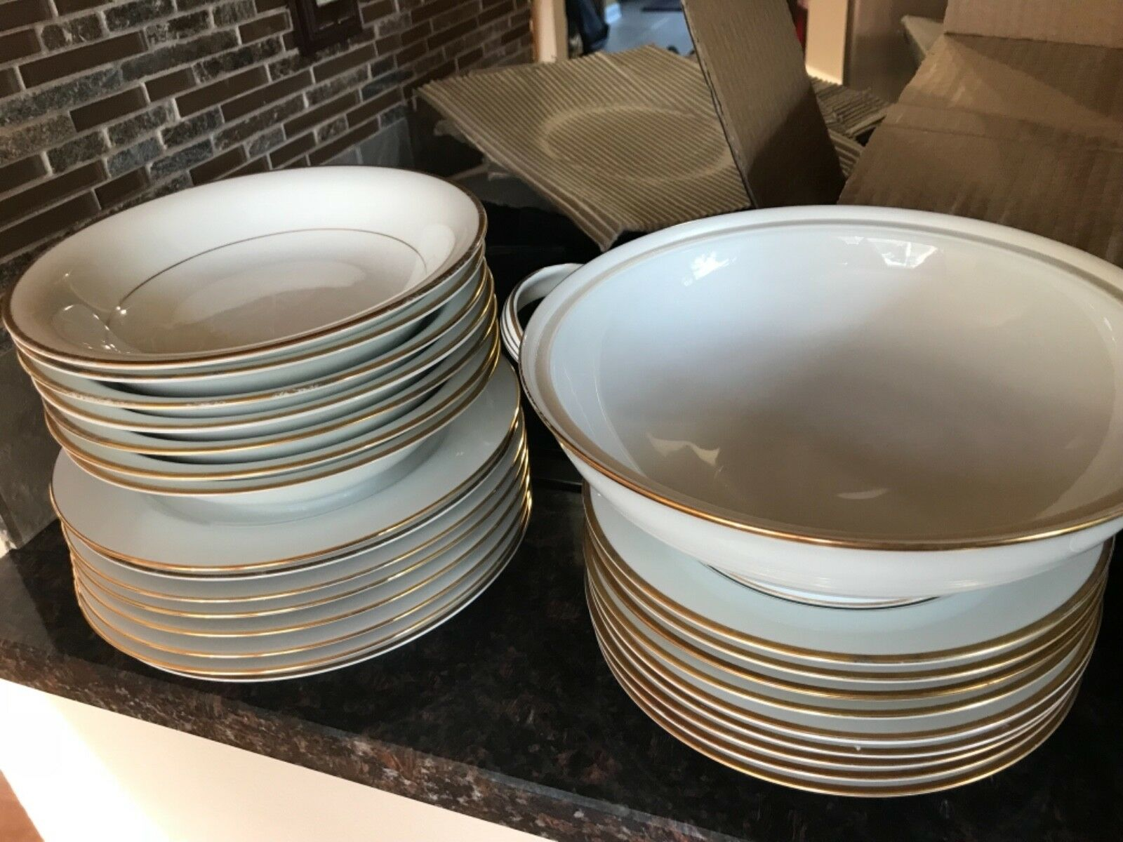 Dinner set 45 piece and tea cups, good condition, dishwasher safe