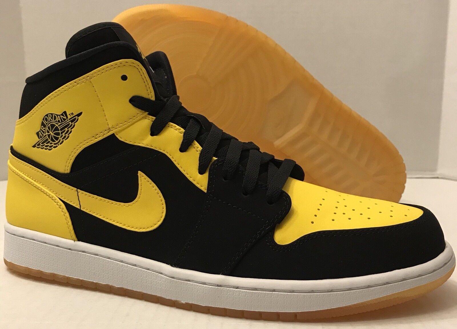 Nike air jordan 1 metà del nuovo amore 554724-035 nero / giallo (uomini e 13)