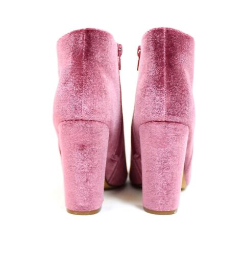 Liliana Kenzy-4 Velvet Round Toe Chunky High Heel Dress Ankle Boots Bootie