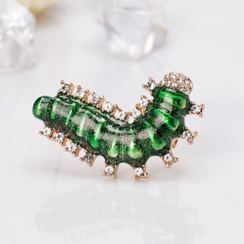Joli Alliage Strass de vers à soie Émail Broche Caterpillar PIN Femmes Bijoux
