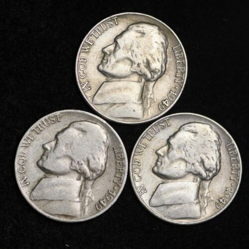 3 Coin Lot VG FREE SHIPPING Nice GOOD 1949 P D S Jefferson Nickel Set