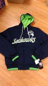 NFL SEATTLE SEAHAWKS REVERSIBLE ZIP-UP HOODED SWEATSHIRT MENS SM-2XL NWT NICE !!