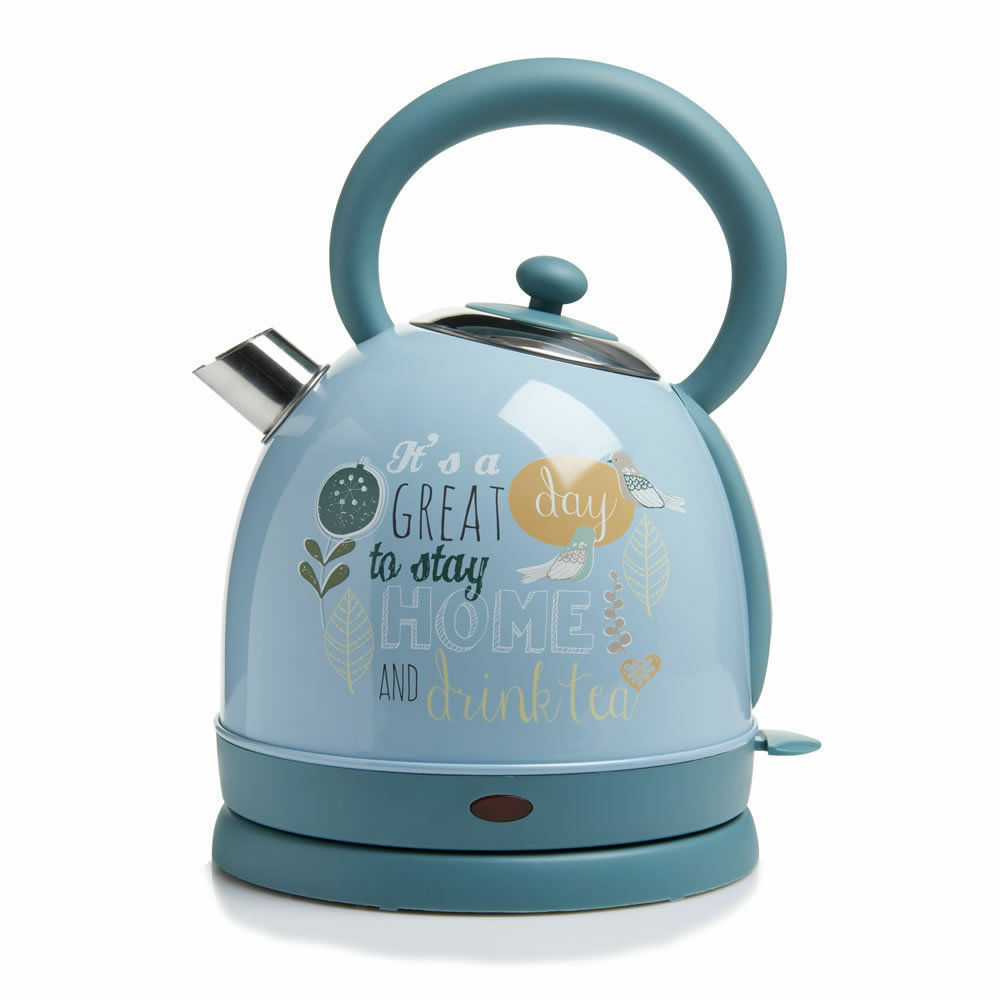 Stainless Steel Home Kitchen Electric Kettle Fast Boil Capacity 1.7L Light bleu