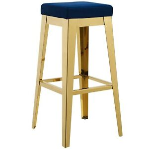 Superb Details About Arrive Gold Stainless Steel Upholstered Velvet Bar Stool In Gold And Navy Machost Co Dining Chair Design Ideas Machostcouk