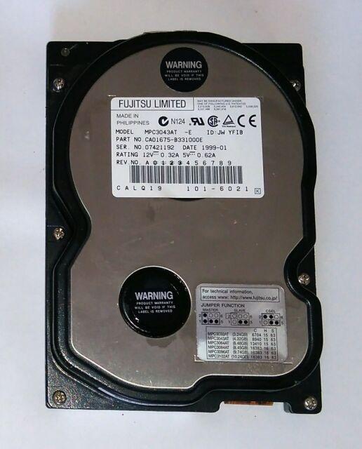 "Fujitsu HDD 3.2GB MPC3032AT CA01675-B32100LP 3.5"" IDE TESTATO VUOTO 146"