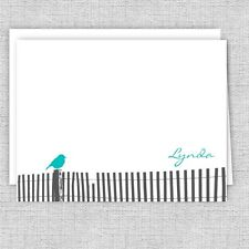 Bird on the Fence Note Cards, Personalized Stationery, Color Choice