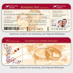 Details Zu Einladungskarten Boarding Pass Flugticket Hochzeit Ihr Bild D Rot