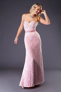 Woman-039-s-Lace-Overlay-with-Peach-Satin-underlay-evening-dress-size-6