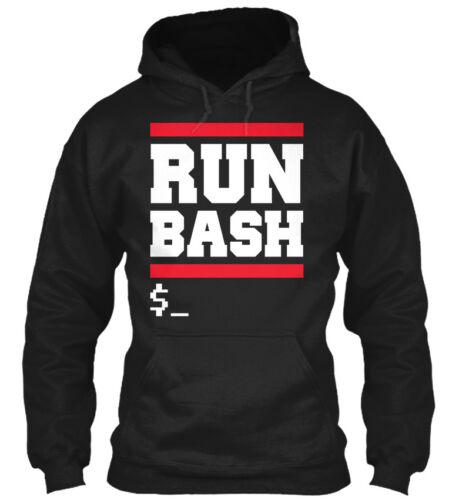 Run Bash $/_ Linux $ Gildan Hoodie Sweatshirt
