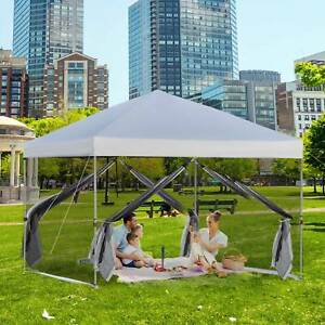 Outsunny 10' x 10' Outdoor Pop Up Canopy Tent Gazebo Mesh Sidewalls Bag Silver