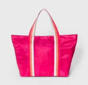 Details About Hot Pink Nylon Tote Womens Handbag Beach Travel Gym Bag With Zipper New