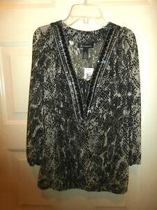 Nwt New Macys Inc Top Blouse W Cami Tunic Medium Animal Print Beaded
