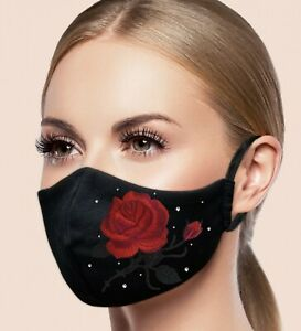 Face Mask Filter Pocket Washable Reusable Embroidery Rhinestone Ebay