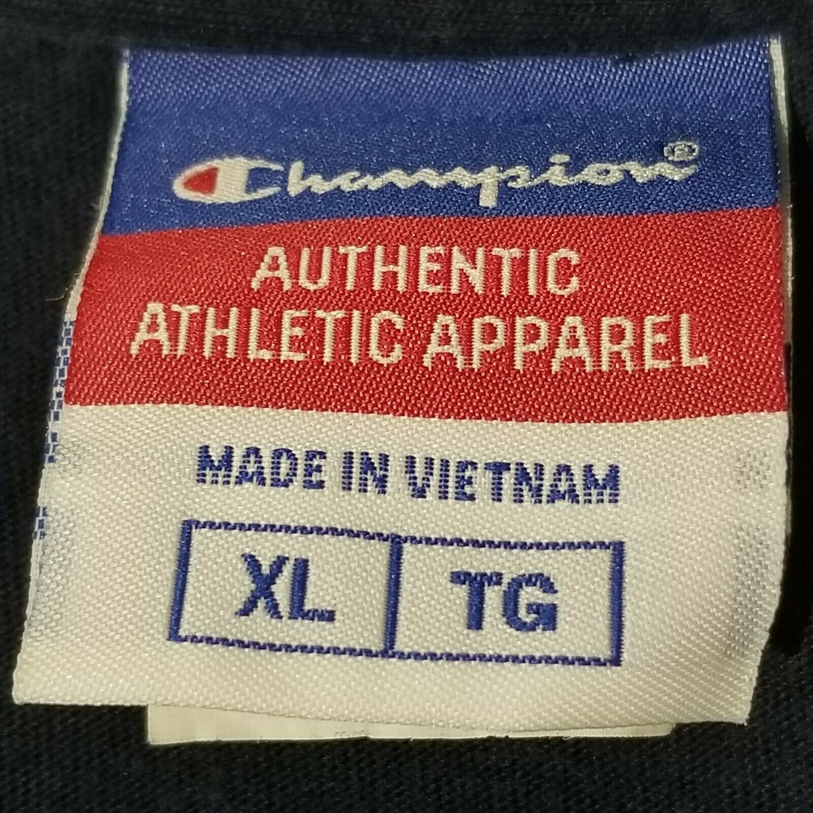 Vtg 90's Champion Cotton Sweatshirt Logo Spellout Block Navy Blue Yellow Mens XL